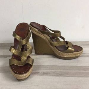 Christian Louboutin Gold Leather Wedge Mule Sandal